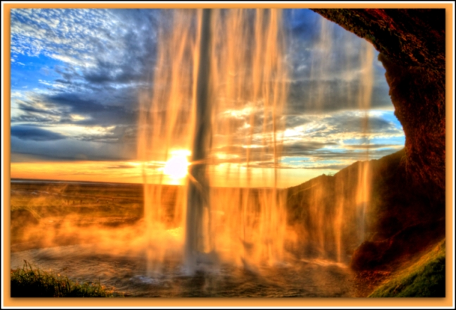Seljalandfoss waterfall at sunset/Iceland